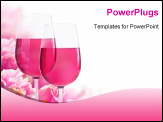 PowerPoint Template - The beautiful backdrop of flowers hibiscus and glasses of wine