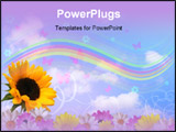 PowerPoint Template - Illustration of flowers rainbow butterflies clouds and sky
