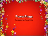 PowerPoint Template - Frame of Colorful Flowers on a Red Background