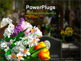 PowerPoint Template - Multicolored Flowers and cemetery on a background ** Note: Slight blurriness, best at smaller sizes