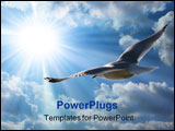 PowerPoint Template - a seagull is soaring through the clouds carried by the wind beneath its wings.