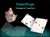 PowerPoint Template - A man hand throwing two aces over a green felt.