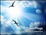 PowerPoint Template - two birds gliding through a beautifully back lit sky.