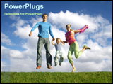 PowerPoint Template - parents jumping with their son.