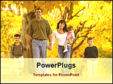 PowerPoint Template - children with parents with maple garden