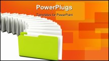PowerPoint Template - Green folder in a row isolated on white background