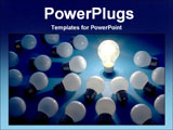 PowerPoint Template - light bulbs surround one lighted bulb