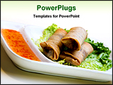PowerPoint Template - crisp vegetable springrolls served on a bed of lettuce and sweet & sour sauce