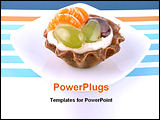 PowerPoint Template - sweet cake with cream, fruits and jelly