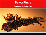 PowerPoint Template - image of coffee pots with coffee seeds