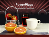 PowerPoint Template - Healthy breakfast fruits juice and coffee table setting