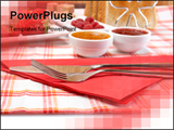 PowerPoint Template - Fork knife strawberries raspberries slices of bread sugar cubes and jam for healthy breakfast.