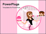 PowerPoint Template - Bakery diva displaying yummy cakes baked good .