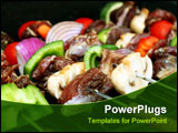 PowerPoint Template - close-up of BBQ sticks with meat and veggies
