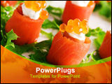 PowerPoint Template - close-up of salmon rolls with red caviar