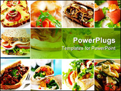 PowerPoint Template - ollage of sandwiches including smoked salmon beef ham turkey chicken and vegetables. Wraps baguette