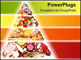 PowerPoint Template - Food Pyramid for a balanced diet. Isolated on white