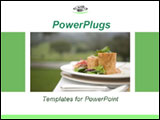 PowerPoint Template - mall plate of gourmet food on the outside table. Ideal template for presentation on restaurant, foo