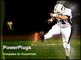 PowerPoint Template - High school football kickoff with leg extended and football leaving tee