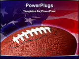 PowerPoint Template - Football with the American flag in he background