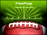 PowerPoint Template -  photo of an American Football with the focus on the leather texture and laces or threads with a fo