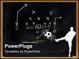 PowerPoint Template - Diagram of football play on black chalkboard.
