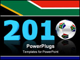PowerPoint Template - blue date 2010 with a football replacing number 0 - south african flag on the ball