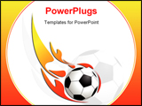 PowerPoint Template - Soccer ball on fire isolated over white background