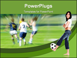 PowerPoint Template - High school soccer game, female footballer over white