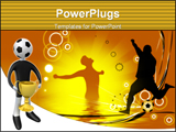 PowerPoint Template - omputer generated image - Football player holding the cup, football vector composition over a green