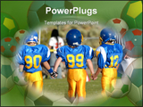 PowerPoint Template - three boys in blue and gold in a football game
