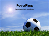 PowerPoint Template - Soccer ball against beautiful blue sky background with white clouds
