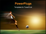 PowerPoint Template - a young soccer player in acrobatic on a sunset
