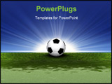 PowerPoint Template - 3d soccer ball on the green grass
