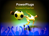 PowerPoint Template - a football player kicking a football into a goal