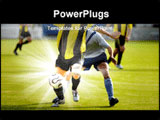 PowerPoint Template - Soccer players fighting for a ball in a soccer match