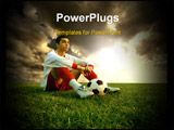 PowerPoint Template - a young soccer player and a sunset
