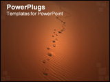 PowerPoint Template - ootsteps in the sand dunes of erg chebbi in the sahara desert near the village of merzouga in moroc