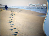 PowerPoint Template - A person walking on the beach near sunset.