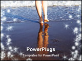 PowerPoint Template - beautiful woman legs reflecting in waves of surf