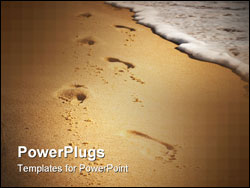 PowerPoint Template - Footsteps on the beach sea wave in background.