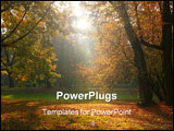 PowerPoint Template - sun rays breaking through the trees in fall time 1019_30