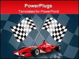 PowerPoint Template - red formula one car and racing flags in the background