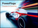 PowerPoint Template - driving at high speed in empty road - motion blur
