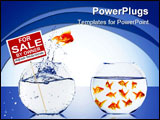 PowerPoint Template - Fish in an aquarium with water and a sign. The concept of real estate