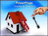 PowerPoint Template - Three-dimensional house with hand holding a key