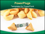 PowerPoint Template - Chinese Fortune cookie with money inside and a stack of other cookies behind showing a one-in-many