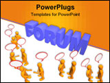 PowerPoint Template - 3d illustration looks many humans with talk bubbles and worth forum.