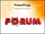 PowerPoint Template - Group of people having discussion with a word forum3d illustration
