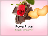 PowerPoint Template - Red Rose with chocolate and cookie. Love ** Note: Shallow depth of field
